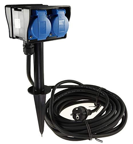 Gartensteckdose 4-fach Steckdosenverteiler mit 4x Steckdosen 10m Kabel H07RN-F 3G1,5mm² Erdspieß IP44 230V Aussen-Steckdose zugelassen für den dauerhaften Einsatz im Aussenbereich