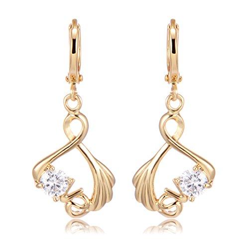 YAZILIND Mode hohlen Herzform Zirkon Anhänger Creolen Gold vergoldet Ideal Geschenk für Frauen Mädchen (Stil b)