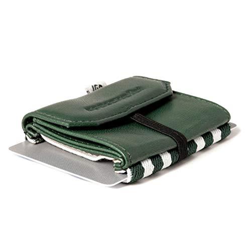 Space Wallet Pull I Mini Portemonnaie für Damen & Herren I Echtleder Geldbörse für bis zu 15 EC-Karten/Kreditkarten I Münzfach & Scheinfach I Kartenetui und Geldbeutel I Tropic Green