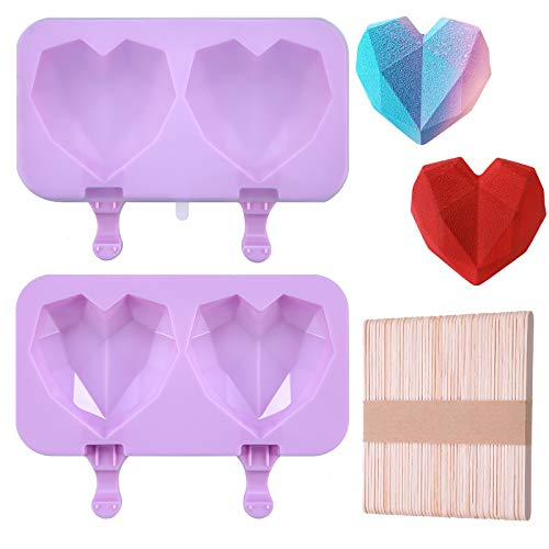 2 Pieces Diamond Heart Ice Cream Mold Silicone Ice Pop Mold Popsicle Molds DIY Ice Cream Maker Cavities Homemade Popsicle Molds with 100 Pieces Wooden Sticks