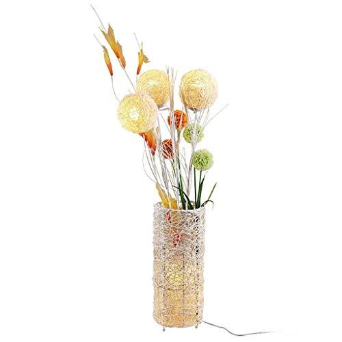Rural staande lamp met afstandsbediening, handgeweven, vloerlamp met bloemen/rotan lamp, woonkamer, hoekbank, slaapkamer, nachtlampje, raamverlichting