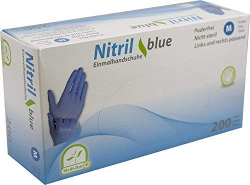 Medi-Inn Nitrilhandschuhe 200 Stück blau, Einweghandschuhe, Einmalhandschuhe, Untersuchungshandschuhe, Nitril Handschuhe, puderfrei, latexfrei (1 Box M, blau)