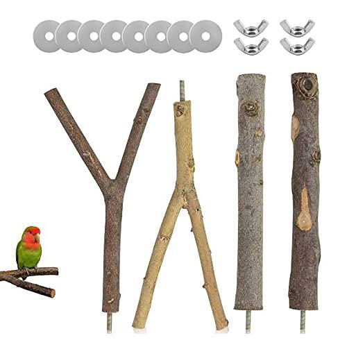 Qanye 4 Piezas Perchas Naturales para Pájaros, Madera Natural para Pájaros, Pájaro Soporte de Madera Natural, 2 Spécifications, Avec 8 Rondelles et 4 Vis Papillon, pour Perroquets, Oiseaux