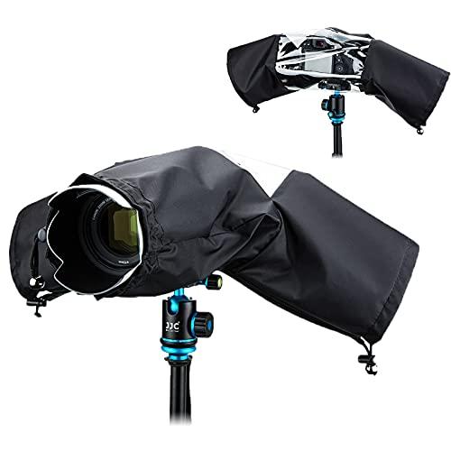 JJC 一眼レフレインカバー カメラレインカバー レンズ?18x14x34cm 適用 二重防水ジッパーデザイン 透明窓 Sony A7RIV A7RIII A7RII A7R A7SIII A7SII A7S A7III A7II A7 RX10 M4 M