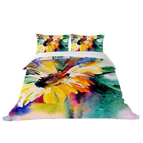 PICKIDS, Set Copripiumino Multicolore con Girasole e Copri-Piumino Morbido e Leggero, Poliestere, Multicolore, King