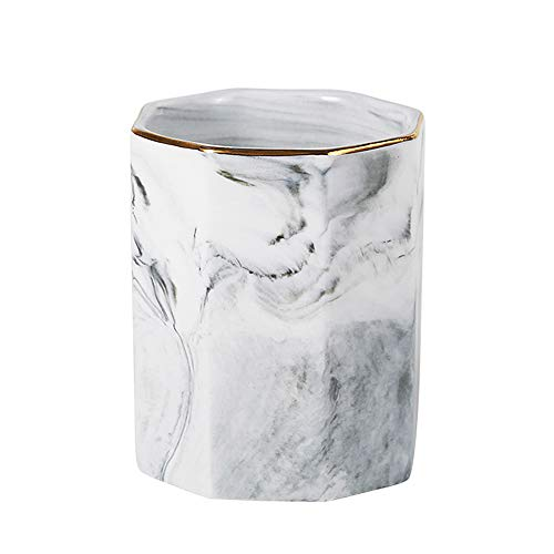 YOSCO Ceramic Desk Pen Holder Stand Marble Pattern Pencil Cup Pot Desk Organizer Makeup Brush Holder (Gray A)