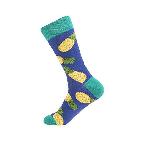Qier Herren Lustige Bunte Socken,Seltsame Neuheit Glücklich Bunte Strümpfe, Ananas-Muster Kreative Modische Crew Skateboard Sox, Multipack (4 Paare) Boden Frühling Herbst