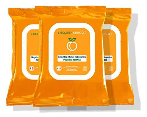 L'Essuie-Fraise - Toallitas íntimas para mujer certificadas orgánicas y biodegradables (paquete de 3 paquetes de 14 toallitas) //Higiene Femenina - Formula natural - 42 toallitas