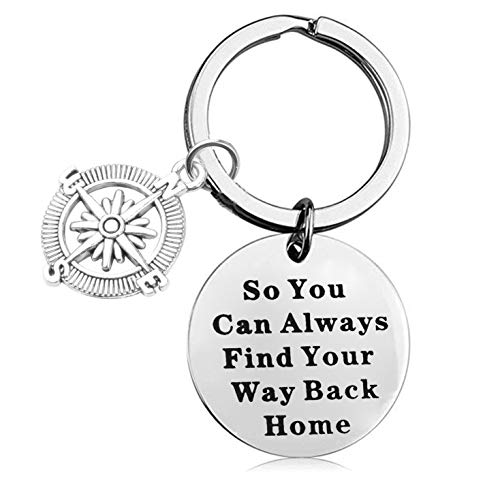 LQRI Compass Key Chain Wanderist Gift So You Can Always Find Your Way Back Home Keychain Travelling Jewelry Inspirational Adventure Gift (Sliver)