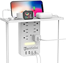Socket Expander, Mentialuc 6-Outlet Multi Plug Wall Outlet Extender with 4 USB Power Strip,Brightness Adjustable LED Night Light with Touch Switch,1700J Surge Protector for Bedroom,Bathroom Kitchen