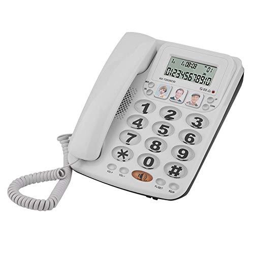 Teléfono con cable, identificador de llamadas de escritorio de 2 líneas Teléfono fijo con función de silencio, cancelación de ruido y rellamada del último número para el hogar de la oficina del hotel