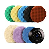 SPTA Polishing pad, Buffing pad, 7''/180mm Sponge Polishing Pad Kit with 5 Waffle Foam 1 Wool Grip Pad and a 5/8'-11 Threaded Backing Plate for Car Buffer Polisher Sanding,Polishing, Waxing