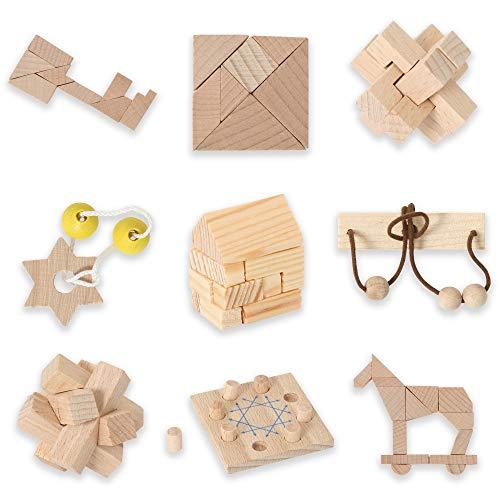 Bartl 500270 Knobelspiele aus Holz Puzzle Set G (9 Puzzles) Geschicklichkeitsspiele für Erwachsene und Kinder