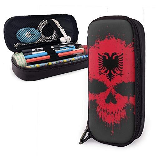 Etui,Chaotische Albanische Flagge Splatter Schädel Leder Bleistifte Beutel Hochwertige Schreibtisch Organizer Tasche Lernpapier Make-Up Tasche Für Studenten,20X9X4Cm