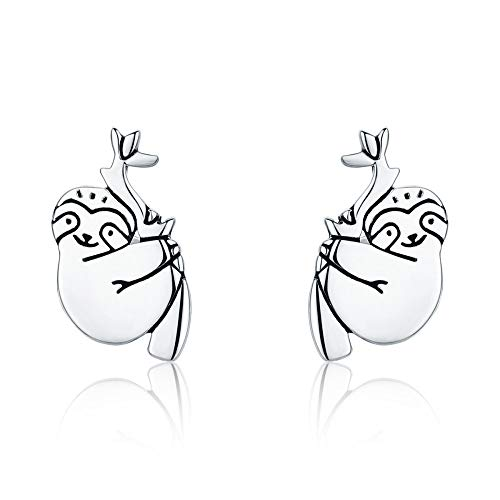 TGHYB Women's Earrings, Vintage Fashion 925 Sterling Silver Beautiful Sloth Animal Small Earrings Fine Wedding Party Christmas Magic Jewellery Gifts for Women Girls