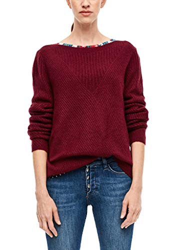s.Oliver RED LABEL Damen Flauschiger Strukturmix-Pullover burgundy 46
