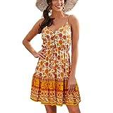 Vestido de Playa Floral sin Mangas con Cuello en V de los años 50 Vestido de Mujer con Bordado Floral Naranja XL