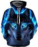 BarbedRose Men's 3D Realistic Digital Print Pullover Hoodie Hooded Sweatshirt,Blue Wolf,L/XL