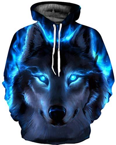 BarbedRose Men's 3D Realistic Digital Print Pullover Hoodie Hooded Sweatshirt,Blue Wolf,S/M