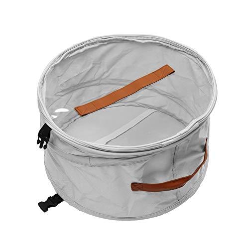 Faltbare Runde Hut Aufbewahrungsbox mit Deckel, ausgestopftes Tier Spielzeug Aufbewahrungsbox, große Pop-Up-Hut Aufbewahrungstasche, Männer und Frauen Reisen Hut-Box, 17 In Grau