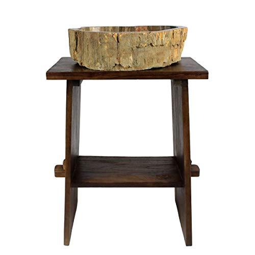 Oriental Galerie Waschtisch Holz Waschbeckenunterschrank Tisch Badmöbel Badezimmermöbel Teakholz Dunkelbraun 60 cm Breite