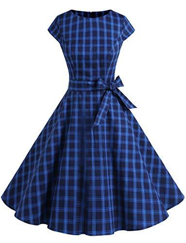 Vestido De Retro Vintage 50s con Manga Corta Y Cinturón para La Baile Fiesta Marino Cuadro S