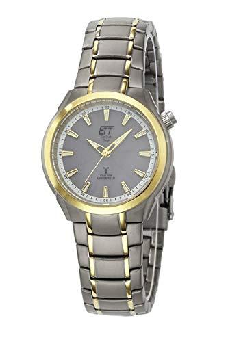 ETT Eco Tech Time Funk Solar Damen Uhr Analog mit Titan Armband ELT-11338-52M