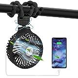 Portable Stroller Fan for Baby, Bike Fan USB Treadmill Fan Desk Fan Mini Handheld Stroller Fan, Rechargeable Fan with 4000mAh Power Bank 4 Speed 360 °Rotation Fan for Car Stroller Bed Office(Black)