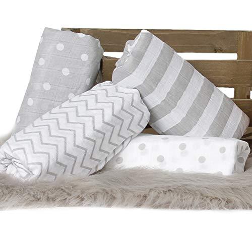 """""""Rayas y Lunares"""" - CuddleBug Muselinas Pack de 4   Mantas de Muselina de Algodón   Paños de Muselina para Bebés Calidad   Garantía de por Vida   Mantas Envolventes."""