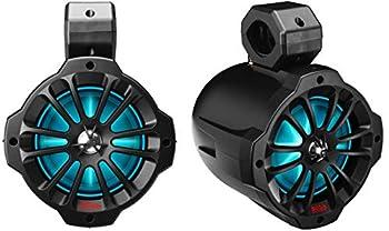 BOSS Audio Systems B62RGB ATV UTV Weatherproof Waketower Speaker System - Amplified 750 Watts Per Pair 6.5 Inch Speakers Full Range 2 Way Bluetooth RGB Led Illumination IPX5 Weatherproof Sold