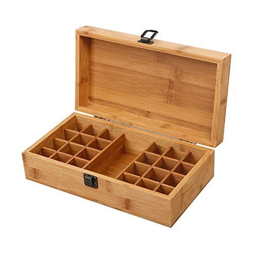 Huachaoxiang Caja De Regalo Aromaterapia Bambú Portátil, Aceites Esenciales Maleta Almacenamiento Botellas Adecuadas para Esmalte Uñas Mancha Aceite Y Barra Labios Fragantes,Marrón