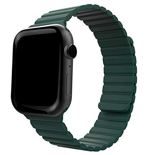 ONELANKS - Correa de silicona magnética para reloj Apple Watch de 42 mm y 44 mm con cierre magnético fuerte para iWatch Series 6 5 SE 4 3 2 1
