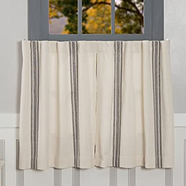 Piper Classics Market Place Grain Sack Stripe Tiers, Set of 2, 24  L x 36  W, Farmhouse Style Window Café Curtains