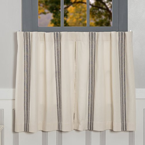 """Market Place Gray Grain Sack Stripe Tiers, Set of 2, 24"""" L x 36"""" W, Farmhouse Style Window Café Curtains"""