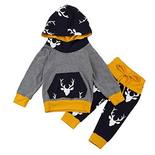 Hirolan Baby Strampler Neugeboren Babykleidung Säugling Baby Junge Mädchen Hirsch Pfeil Kapuzenpullover Lange Hülse Tops Täglich Hose Mode Outfits Kleider Set (70cm, Grau 3)