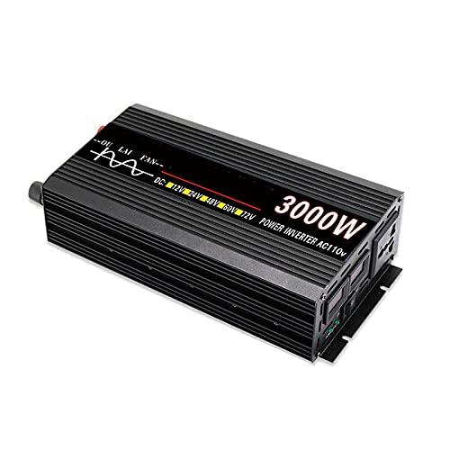 SGSG Inversor de Corriente DC 12V a 220V / 110V AC Convertidor Universal AC Outlet y 4.8A Dual USB Cargador para automóvil con Encendedor Ventiladores Pantalla LED, 5000W, 12V / 220V