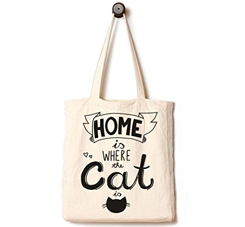 [Upgraded] Andes Heavy Duty Canvas Tote Bag with 2 Pockets Inside, Handmade from 12-ounce Pure Cotton, Perfect for Shopping, Laptop, School Books, Pet Home is Where The Cat is