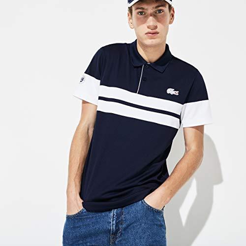 Lacoste Roland-Garros Herren gestreiftes technisches Poloshirt - Marineblau
