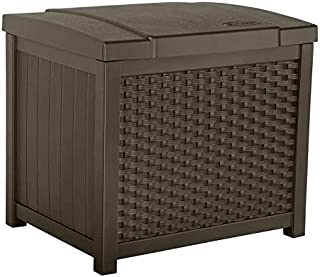 Suncast 22 Gallon Resin Storage Box - Contemporary Indoor and Outdoor Bin Stores Tools, Toys, and Accessories - Mocha Wicker