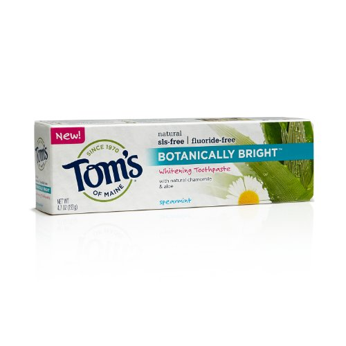 Tom's of Maine, Botanically Bright SLS and Fluoride-Free Toothpaste - Spearmint, 4.7 Ounce