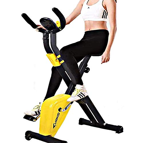 Folding Upright Heimtrainer, Indoor Cycling Bikes mit 6 Einstellbarer Sat Kissen und LCD-Display, Magnetic Upright Fahrrad, Ideal Cardio Trainer