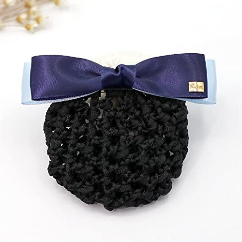 Red de pelo azafata para moño con diseño de lazo para el pelo, para el personal de enfermería, para mujeres, niñas, accesorios de joyería (color azul marino)