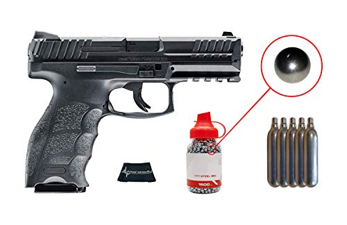 Umarex Heckler and Koch VP9 .177 Caliber CO2 Steel BB Blowback Pistol with Included CO2 12 Gram (5 Pack) and Pack of 1500 Precision Steel BBS and Wearable4u Cloth