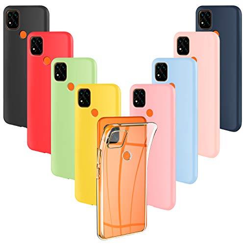 ivencase 9 × Funda Xiaomi Redmi 9C, Carcasa Fina TPU Flexible Cover para Xiaomi Redmi 9C (Rosa, Verde, Púrpura, Rosa Claro, Amarillo, Rojo, Azul Oscuro, Translúcido, Negro)
