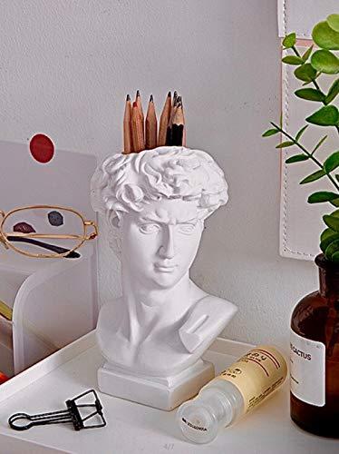 David Head Busto de resina Estatua pluma titular de brochas de maquillaje florero decoración del hogar