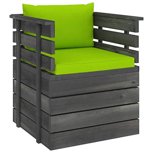 vidaXL Massivholz Gartensessel Loungemöbel Paletten Sessel Gartenmöbel Gartenstuhl Loungesessel mit Kissen Kiefernholz