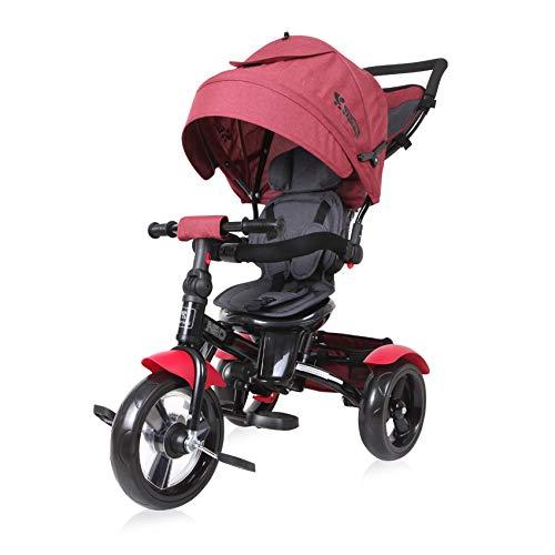Lorelli Triciclo Neo 4 en 1 EVA, con Varilla de Empuje, Asiento Giratorio, Regulable, Color:Rojo Oscuro