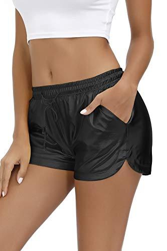 Yidarton Damen Metallic Shiny Shorts Wet Look Tunnelzug Elastische Sport Gym Kurz Hosen Hotpants mit Taschen (Schwarz, Medium)