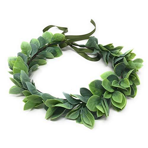 Corona de flores de Navidad Boho Boho para novia, para bebés, aliento y pelo Verde Hoja Verde...