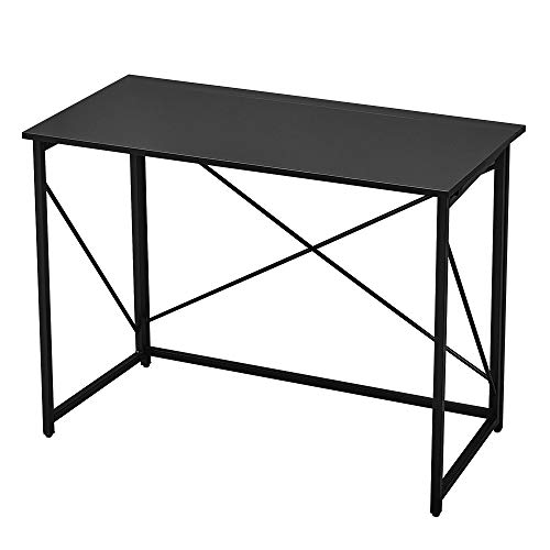 Panana Folding Computer Gaming Desk, Portable Wooden Study Writing Office Desk Foldable PC Laptop Workstation Meeting Table Picnic Table with Metal Frame Home Adults Kids Children Black